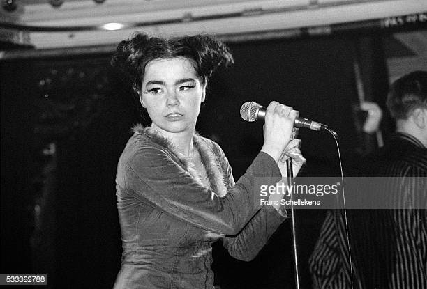 Bjork vocal performs with the Sugarcubes at the Paradiso on March 29th 1992 in Amsterdam the Netherlands