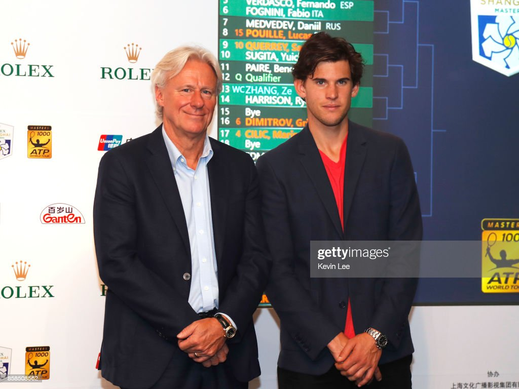 Bjorn Borg and Dominic Thiem of Austria poses for a picture at the 2017 Shanghai Rolex Masters Main Draw ceremony on October 7, 2017 in Shanghai, China.