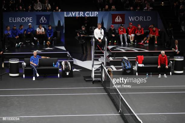 Bjorn Borg Captain of Team Europe and John Mcenroe Captain of Team World look on as Marin Cilic of Team Europe plays his singles match against...