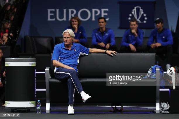 Bjorn Borg Captain of Team Europe looks on as Marin Cilic of Team Europe plays his singles match against Frances Tiafoe of Team World on the first...