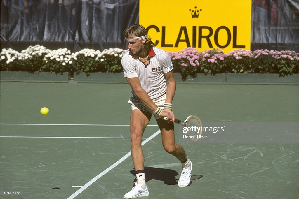 Bjorn Borg hits a backhand during a match in the 1978 US Open at the USTA National Tennis Center at Flushing Meadows in the New York City borough of Queens.