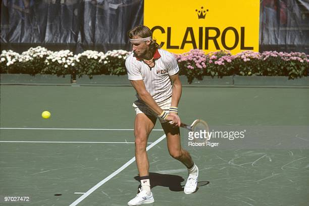 Bjorn Borg hits a backhand during a match in the 1978 US Open at the USTA National Tennis Center at Flushing Meadows in the New York City borough of...