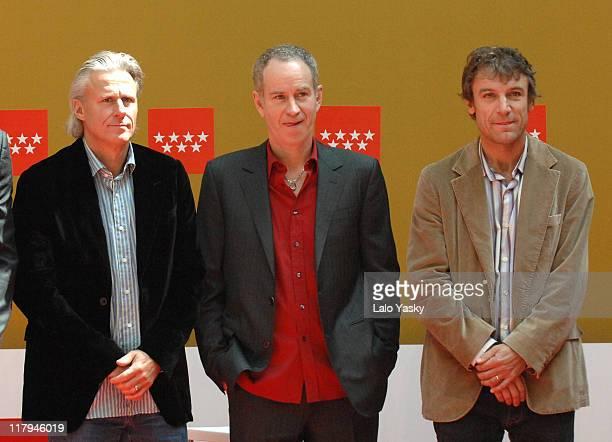 Bjorn Borg John McEnroe and Mats Wilander during the Madrid Masters Senior Presentation at Casa de Correos Madrid Spain on April 13 2007