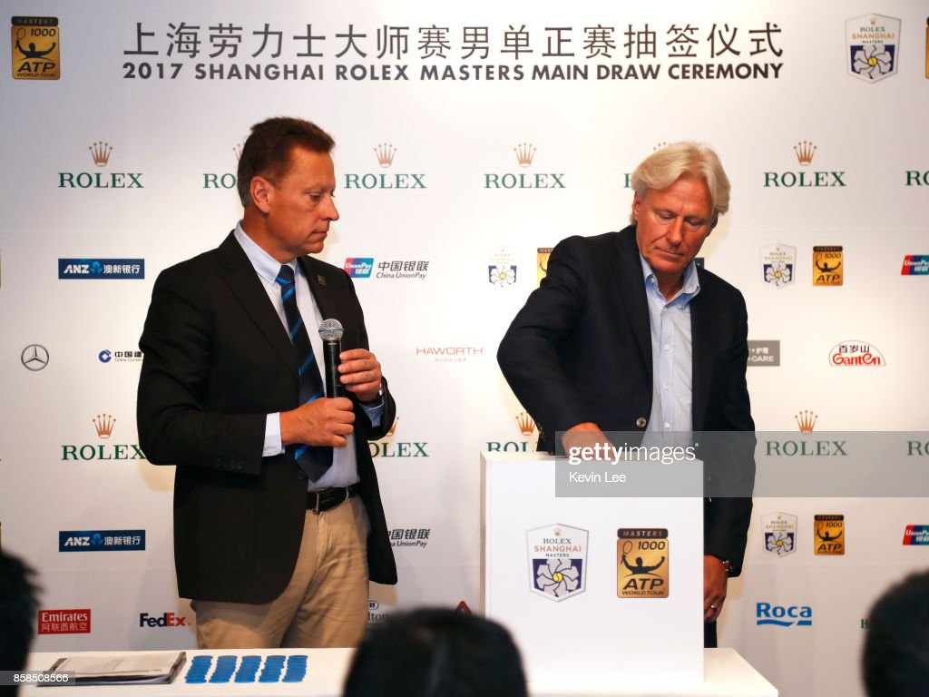 Bjorn Borg make a draw chair by ATP supervisor Lars Graff at the 2017 Shanghai Rolex Masters Main Draw ceremony on October 7, 2017 in Shanghai, China.