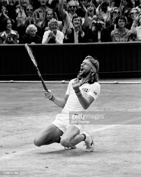 Bjorn Borg of Sweden celebrates on Centre Court after defeating John McEnroe of the United States in the Men's Singles Final at the All England Club...