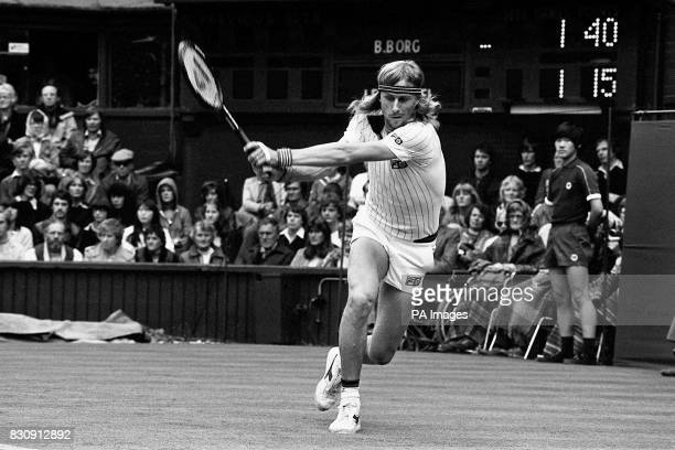 Bjorn Borg of Sweden in action on the centre court in the opening game of the 1980 Wimbledon tournament defending his fourth successive title His...