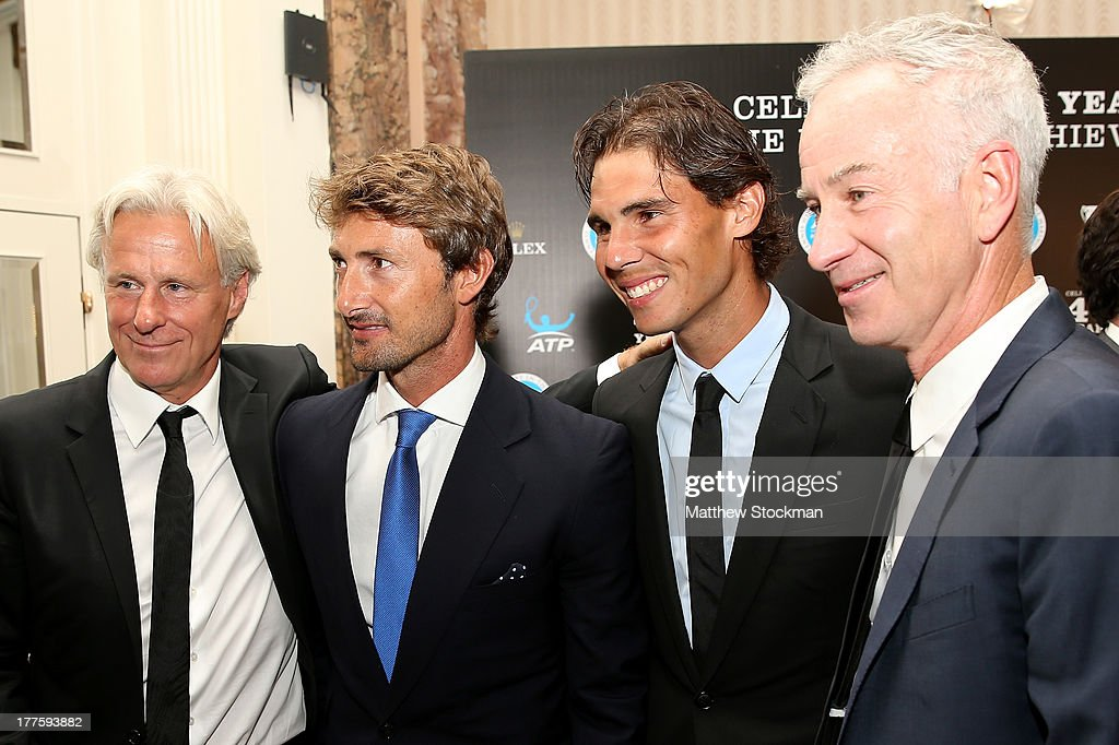 Bjorn Borg of Sweden; Juan Carlos Ferrero of Spain, Rafael Nadal and John McEnroe pose for photographers during the ATP Heritage Celebration at The Waldorf=Astoria on August 23, 2013 in New York City.