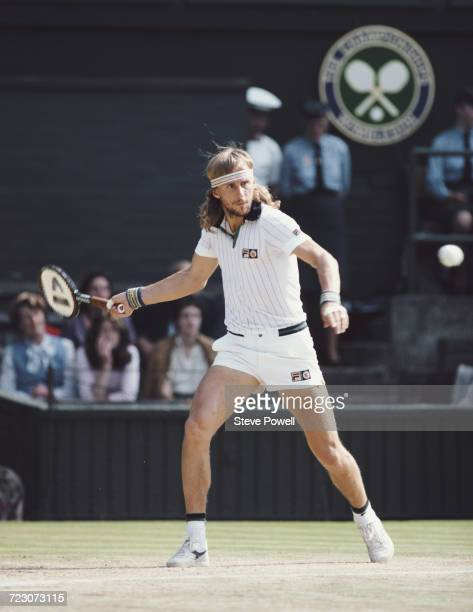 Bjorn Borg of Sweden makes a forehand return against John McEnroe during their Men's Singles Final match at the Wimbledon Lawn Tennis Championship on...