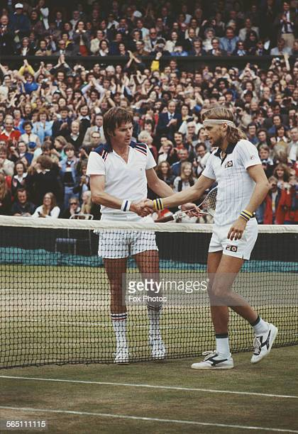 Bjorn Borg of the Sweden and Jimmy Connors of the United States during the Men's Singles Final match at the Wimbledon Lawn Tennis Championship on 8...