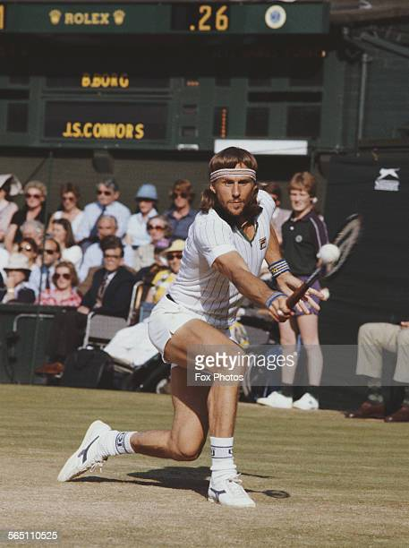 Bjorn Borg of the Sweden during the Men's Singles Semi Final match against Jimmy Connors of the United States at the Wimbledon Lawn Tennis...