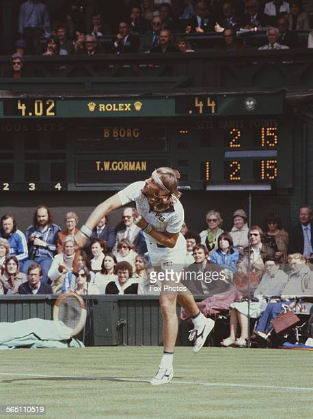 Bjorn Borg of the Sweden serves toTom Gormon during the Men's Singles Final match at the Wimbledon Lawn Tennis Championship on 25 June 1979 at the...