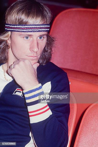 Bjorn Borg sitting in the stands in tennis gear circa 1970 New York
