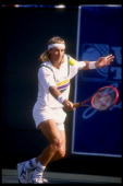 Bjorn Borg uses a backhand stroke during the Volvo Tennis Classic tournament Mandatory Credit Ken Levine /Allsport