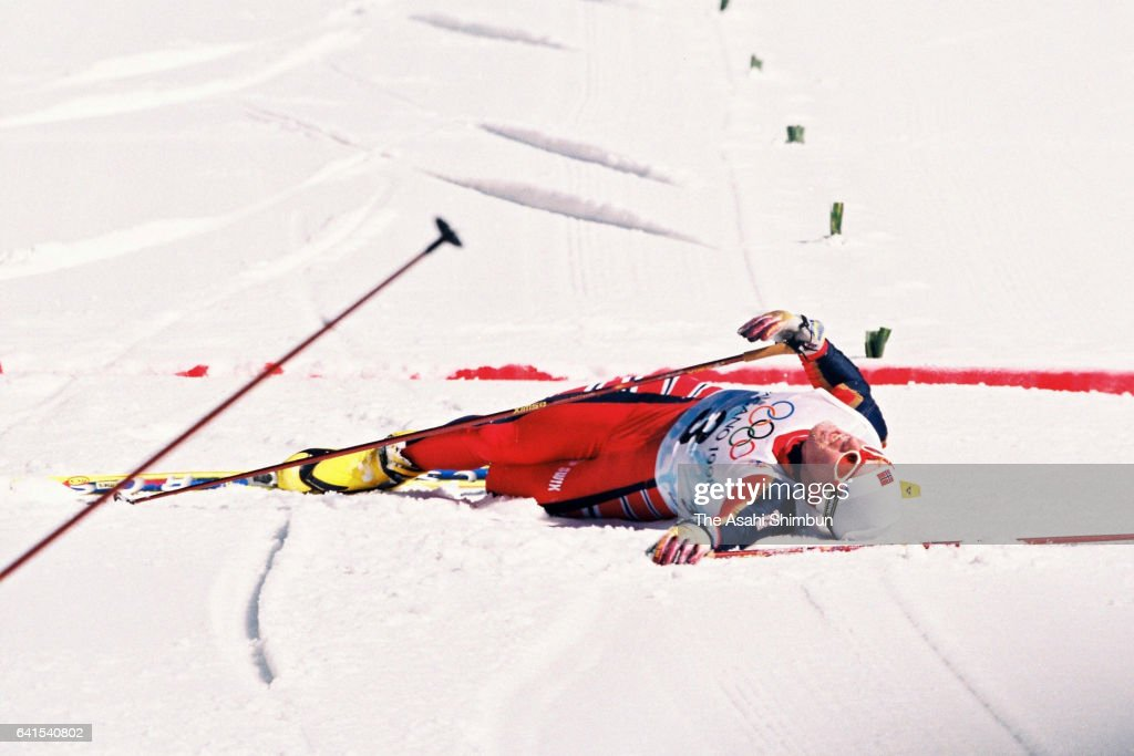 Bjorn Daehlie of Norway reacts after crossing the finish line to win the gold medal in the Cross Country Skiing Men's 50km Freestyle during day fifteen of the Nagano Winter Olympic Games at Snow Harp on February 22, 1998 in Hakuba, Nagano, Japan.