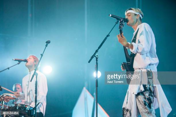 Bjorn Dixgard and Gustaf Erik Noren of Mando Diao perform on stage at Arenal Sound 2014 on August 3 2014 in Barcelona Spain
