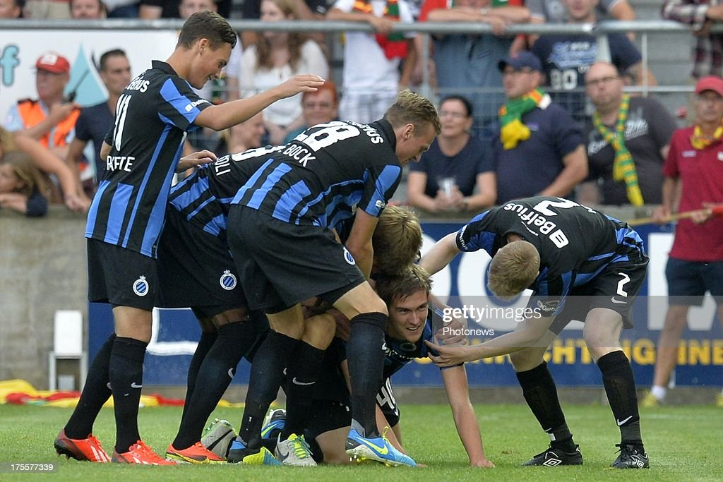 Bjorn Engels of Club Brugge celebrates scoring a goal during the Jupiler Pro League match between KV Oostende and Club Brugge KV on August 4, 2013 in Oostende, Belgium. (Photo by Peter De Voecht/Photonews