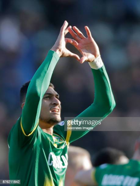 Bjorn Johnsen of ADO Den Haag celebrates 31 during the Dutch Eredivisie match between ADO Den Haag v Heracles Almelo at the Cars Jeans Stadium on...