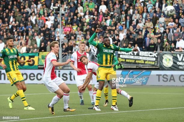 Bjorn Johnsen of ADO Den Haag Frenkie de Jong of Ajax Matthijs de Ligt of Ajax Joel Veltman of Ajax Wilfried Kanon of ADO Den Haag during the Dutch...