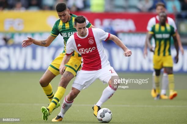 Bjorn Johnsen of ADO Den Haag Nick Viergever of Ajax during the Dutch Eredivisie match between ADO Den Haag and Ajax Amsterdam at Car Jeans stadium...