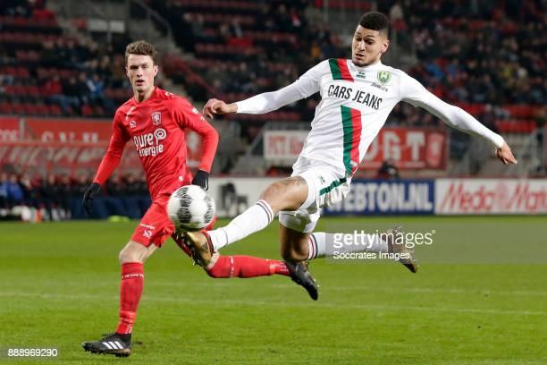 Bjorn Johnsen of ADO Den Haag scores the third goal to make it 12 during the Dutch Eredivisie match between Fc Twente v ADO Den Haag at the De...