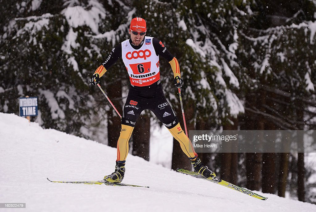 Bjorn Kircheisen of Germany in action during the Nordic Combined Team 4x5km at the FIS Nordic World Ski Championships on February 24, 2013 in Val di Fiemme, Italy.