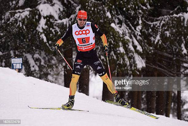 Bjorn Kircheisen of Germany in action during the Nordic Combined Team 4x5km at the FIS Nordic World Ski Championships on February 24 2013 in Val di...