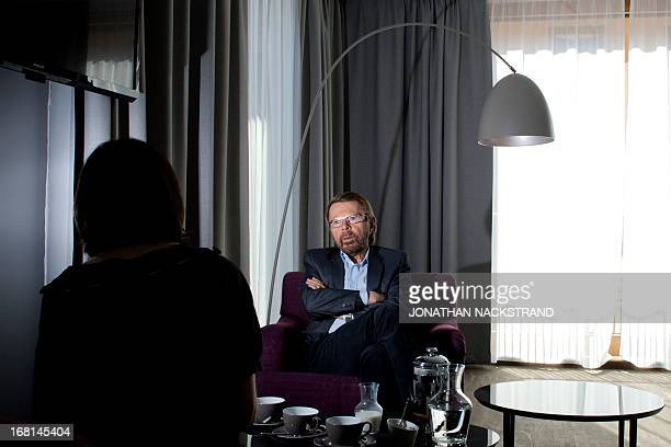 Bjorn Kristian Ulvaeus a former member of the Swedish music group ABBA is pictured during an interview on April 29 2013 at the Swedish Music Hall of...