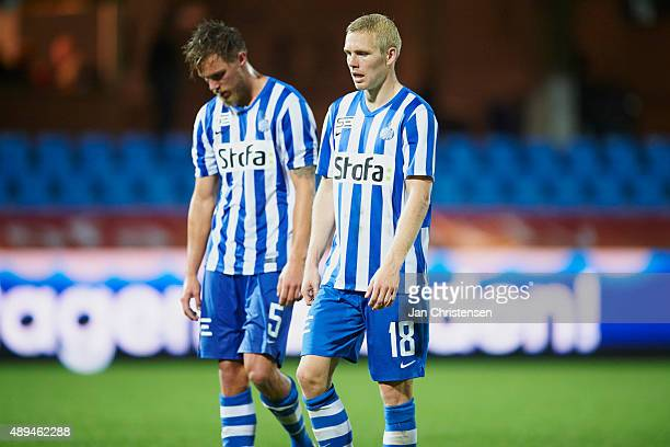 Bjorn Paulsen of Esbjerg fB and Leon Jessen of Esbjerg fB looks dejected after the Danish Alka Superliga match between Esbjerg fB and Randers FC at...