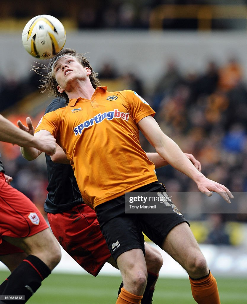 Bjorn Sigurdarson of Wolves in action during the npower Championship match between Wolverhampton Wanderers and Cardiff City at Molineux on February 24, 2013 in Wolverhampton, England.