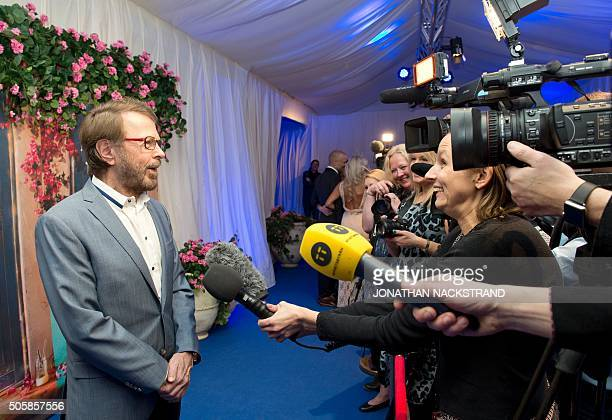 Bjorn Ulvaeus a member of Swedish disco group ABBA speaks to journalists during the opening of 'Mamma Mia The party' a new restaurant in Stockholm...
