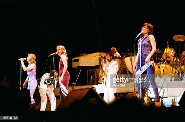 Bjorn Ulvaeus Agnetha Faltskog and AnniFrid Lyngstad of ABBA perform on stage at Wembley Arena on November 8th 1979 in London United Kingdom
