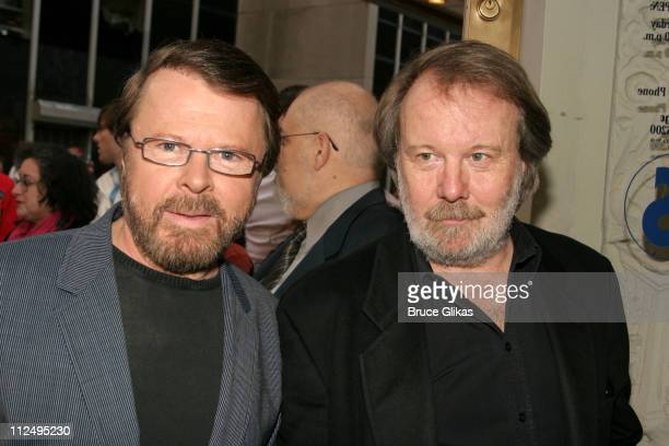 Bjorn Ulvaeus and Benny Andersson of ABBA during Opening Night of Martin McDonagh's 'The Pillowman' on Broadway Arrivals at The Booth Theater in New...