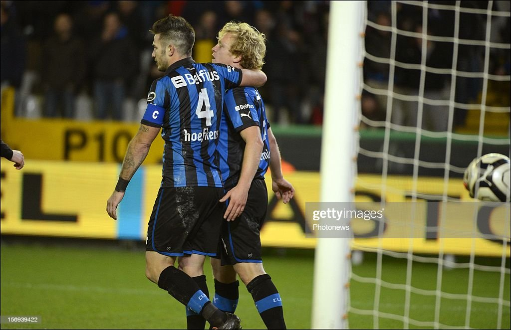 Bjorn Vleminckx of Club Brugge KV celebrates during the Jupiler League match between Club Brugge K.V and R.C.S.Charleroi November 25, 2012 in Brugge, Belgium.