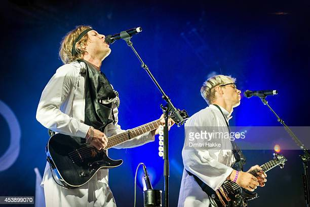 Björn Dixgård and Gustaf Norén of Mando Diao perform on stage at Lowlands Festival at Evenemententerrein Walibi World on August 15 2014 in...