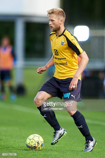 Björn Kopplin of Hobro IK controls the ball during the Danish Alka Superliga match between Hobro IK and FC Helsingor at DS Arena on July 16 2017 in...