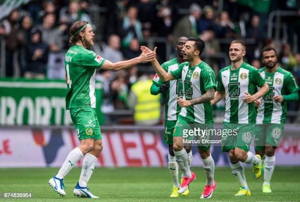 Bjørn Paulsen of Hammarby IF celebrates together with Jiloan Hamad after scoring 10 during the Allsvenskan match between Hammarby IF and Athletic FC...