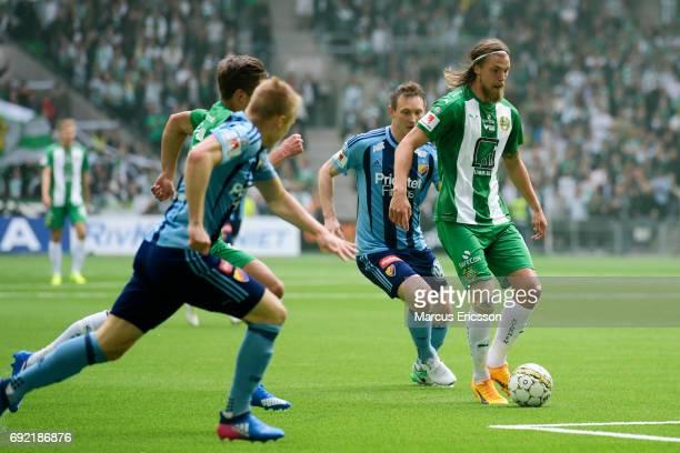 Bjørn Paulsen of Hammarby IF chased by Kim Kallstrom of Djurgardens IF during the Allsvenskan match between Hammarby IF and Djurgardens IF at Tele2...