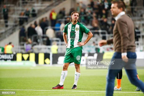 Bjørn Paulsen of Hammarby IF dejected after the loss in the Allsvenskan match between Hammarby IF and IFK Norrkoping at Tele2 Arena on October 1 2017...
