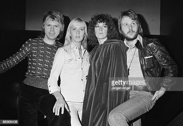 Björn Ulvaeus Agnetha Fältskog AnniFrid Lyngstad and Benny Andersson of the pop group Abba pose for a group shot in 1974 in Copenhagen Denmark