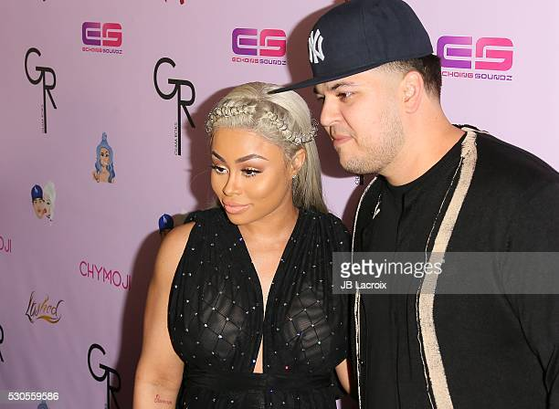 Blac Chyna and Rob Kardashian attend Blac Chyna's birthday celebration and unveiling of her 'Chymoji' Emoji Collection at Hard Rock Cafe on May 10...
