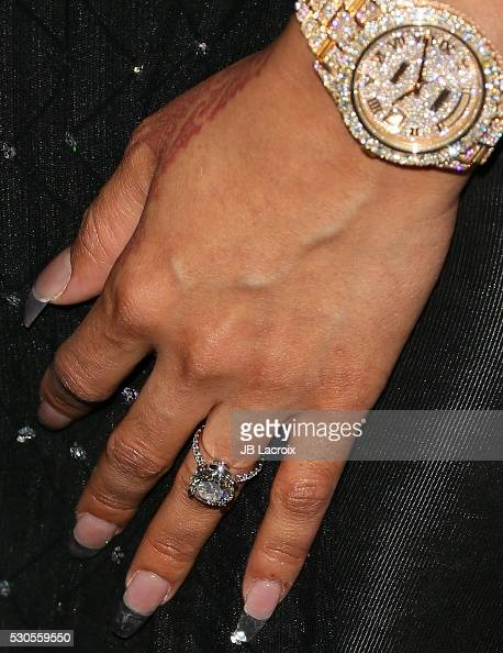 Blac Chyna engagement ring details attends Blac Chyna's birthday celebration and unveiling of her 'Chymoji' Emoji Collection at Hard Rock Cafe on May...