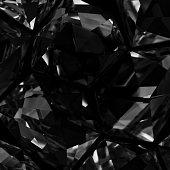 Black crystals, studio shot.