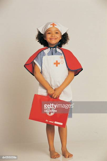 Black American girl in nurses outfit