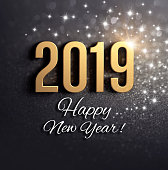 Happy New Year greetings and 2019 date number colored in gold, on a festive black background, with glitters and stars - 3D illustration