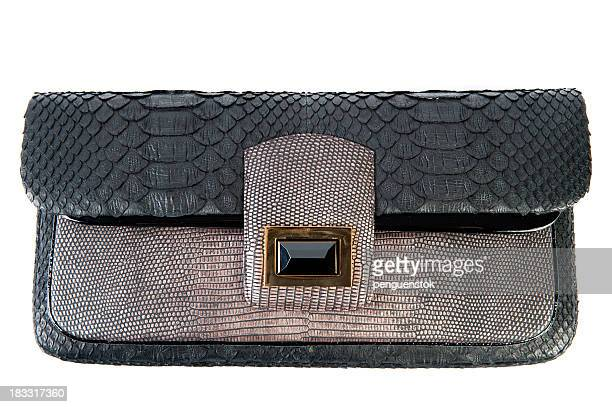 Black and grey leather hand bag