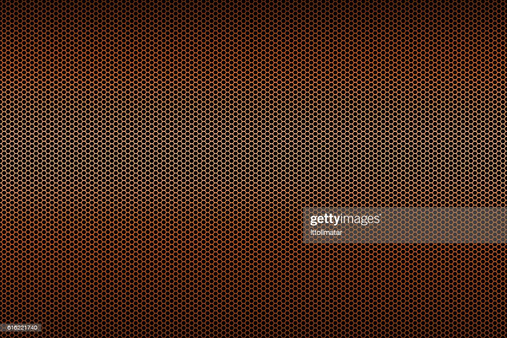 black and orange metallic polygon honeycomb grid texture pattern background : Stock Photo