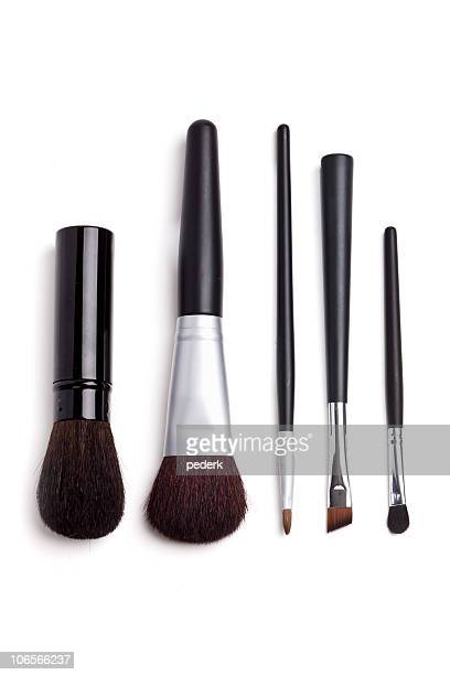 Black and silver cosmetic brushes