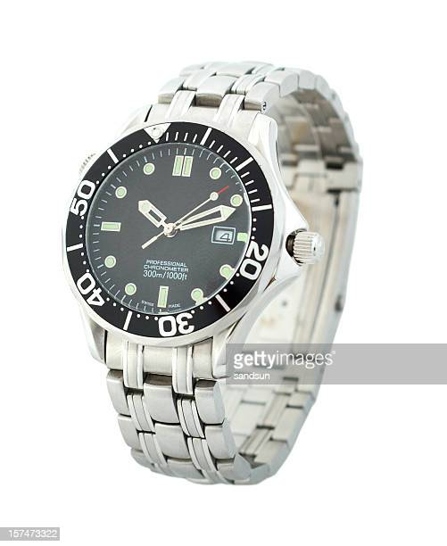 Black and silver men's wristwatch on a white background