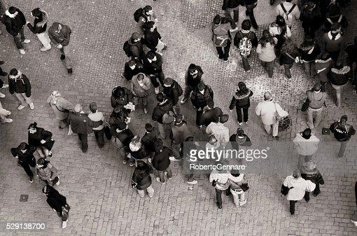 Black and White Aerial view Crowded Charles Bridge Prague Tourists