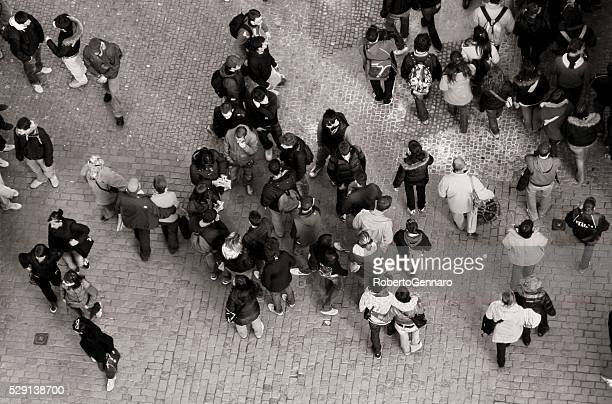 Black and White Aerial view Crowded Charles Bridge Prague Tourists